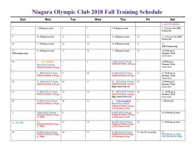 NOC 2018 Fall Schedule